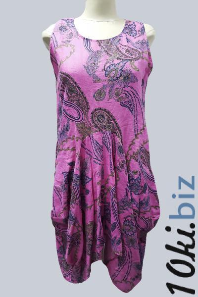 Модель 15081 - Модный сарафан изо льна,оригинального кроя с изысканным принтом Платья, сарафаны женские в Москве