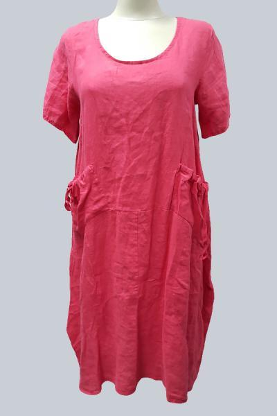 Модель 5213 - Модное платье изо льна с оригинальными карманами