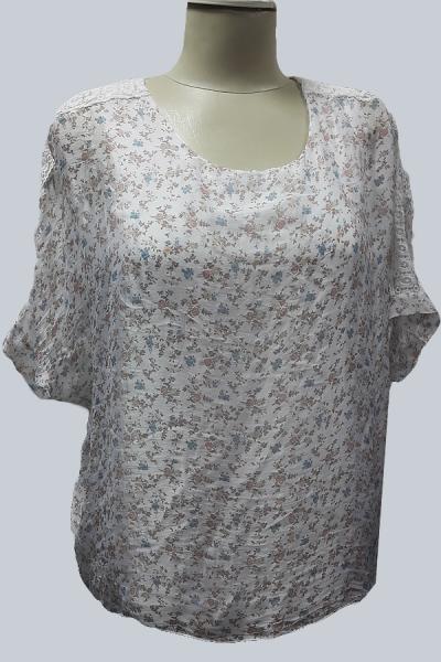 Модель 3469 - Модная двойка - трикотажная майка и полупрозрачная туника в мелкий цветочек и с кружевом на плечах