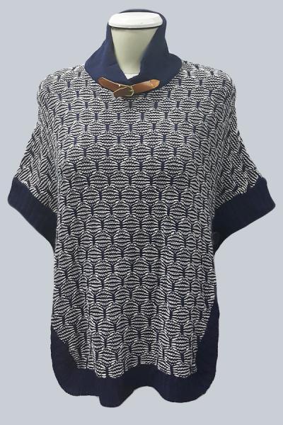 Модель 2285 - Модная накидка-пончо красивой обьемной вязки