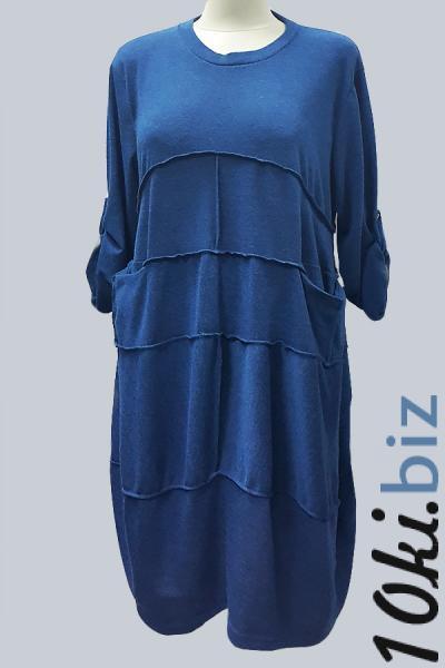Модель 3158 - Модное трикотажное платье c карманами и прошитое поперечными швами Платья с рукавами, теплые платья в Москве