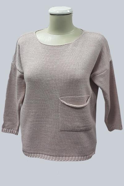 Модель 6507 - Модный вязаный свитер с люриком, с карманами впереди и разрезом сзади