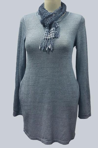 Модель 2786 - Модное платье-туника с люриксом и кружевным шарфиком