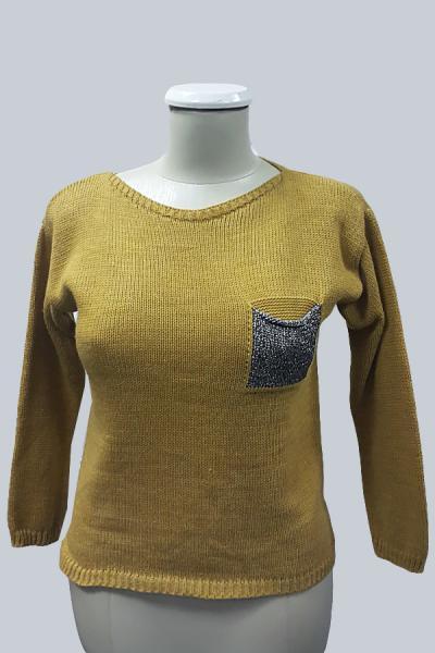 Модель 6414 - Модный  вязаный свитер , с карманами из люрикса