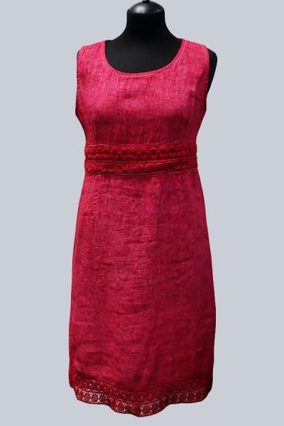 Модель 3289 -  Модное платье из вареного льна , украшенное кружевом