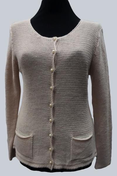 Модель 14151 - Шерстяной вязанный трикотажный джемпер с пуговицами и карманами