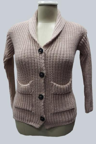 Модель 7909 - Модный вязаный пиджак с карманами