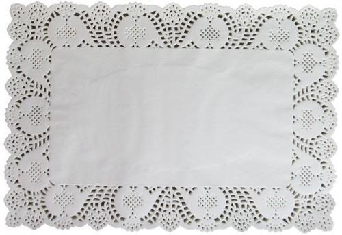 Кондитерские ажурные прямоугольные салфетки 36 см - 25 см (набор 100 штук)
