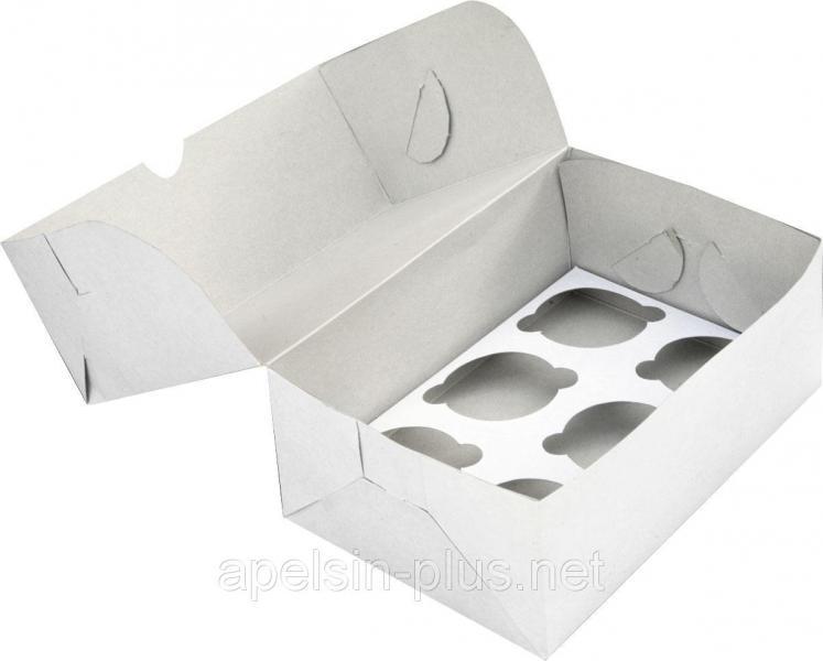 """Упаковка для кексов белая на 6 штук """"Эконом"""""""