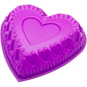 """Силиконовая форма для пирога """"Сердце узорное"""" 28 см 26,5 см"""