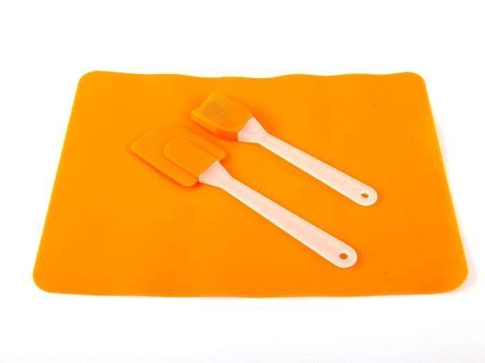 Силиконовый коврик для выпечки 37 см 27 см,лопатка,кисточка (набор)