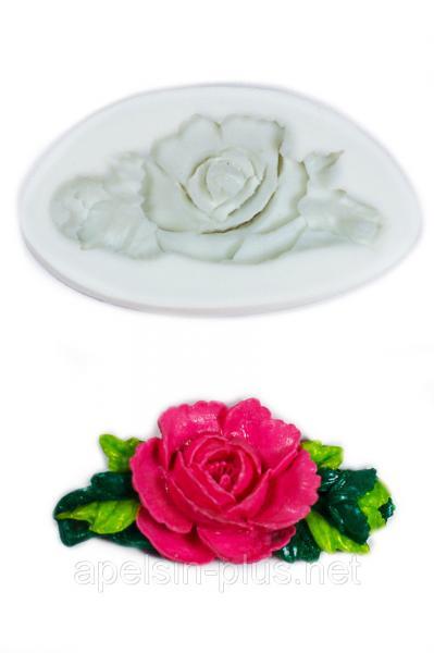 """Молд силиконовый """"Роза с листочками"""" 7,7 см 4,5 см"""