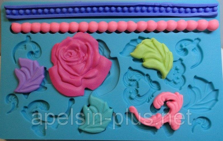"""Молд силиконовый для декора """"Розы,бусы,вензеля"""" 13 см 20 см"""