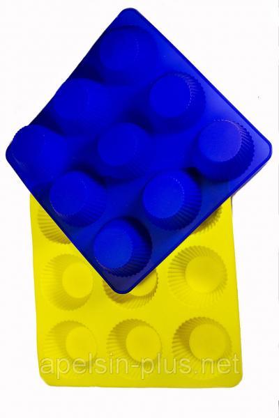 Силиконовая форма для выпечки Кексы рифленные на 9 ячеек