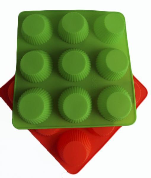 Фото Силиконовые формы для выпечки, Формы на планшете Силиконовая форма для выпечки Кексы рифленные на 9 ячеек