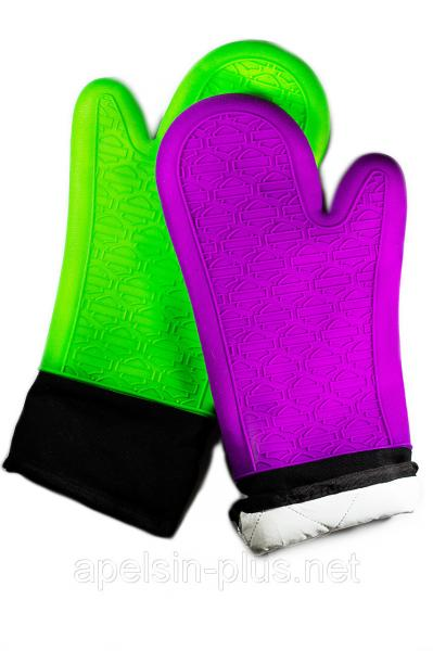Силиконовая рукавица - прихватка 38 см (тканевый вкладыш и манжет)