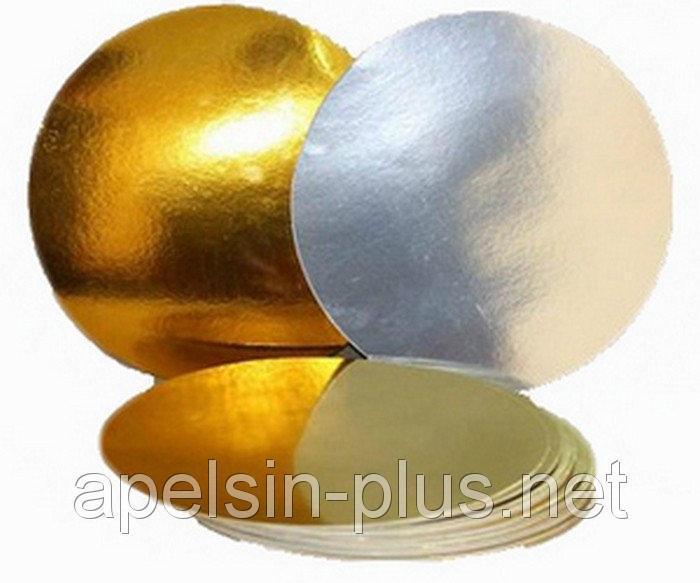 Фото Подложки,коробки,салфетки и бумажные формы для тортов,кексов и пряников Подложка кондитерская 18 см золото-серебро двухслойная