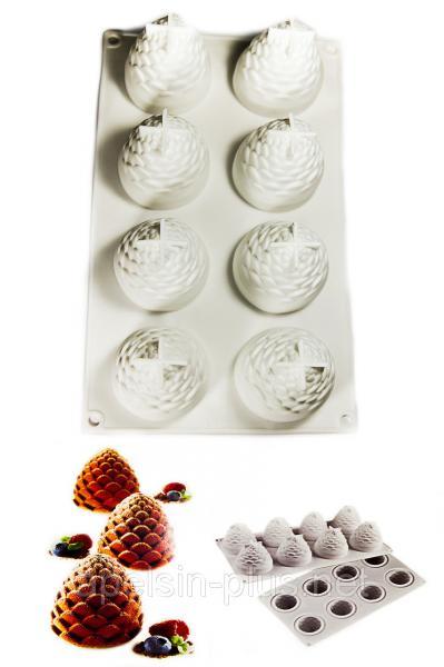 Силиконовая форма для муссовых десертов Foresta (шишки,ананасы) 8 десертов