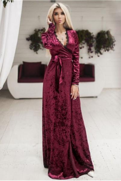 Фото Одежда больших размеров, Платья больших размеров Бархатное вечернее платье Грация марсала