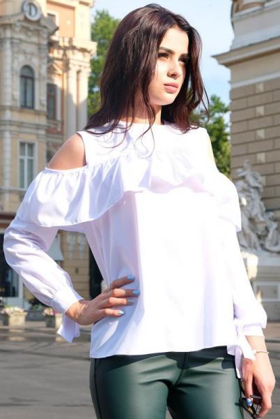 """Белая блузка с длинным рукавом """"Диамант"""""""