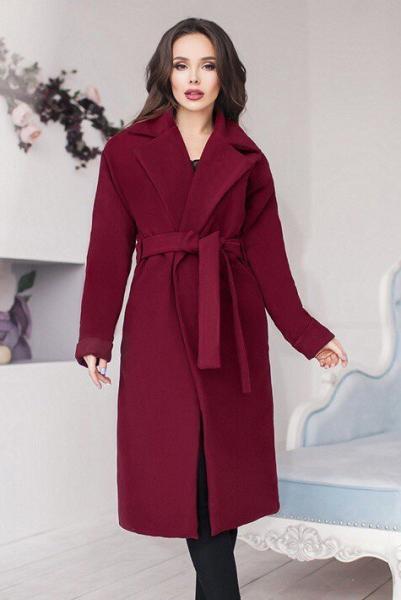 Фото Одежда больших размеров, Верхняя одежда Бордовое демисезонное пальто Даниель