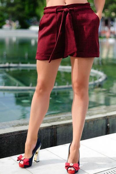 Бордовые женские шорты Гаванна