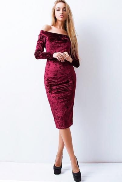"""Велюровое платье """"Ларнака """", бордовый"""