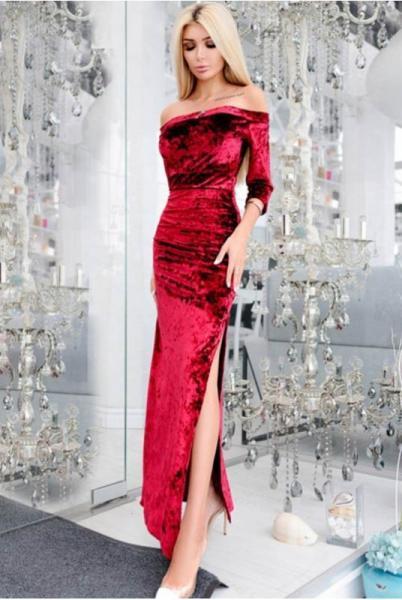 Велюровое платье в пол Кармела, марсала