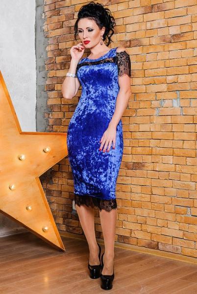 Велюровое платье Стелла, электрик