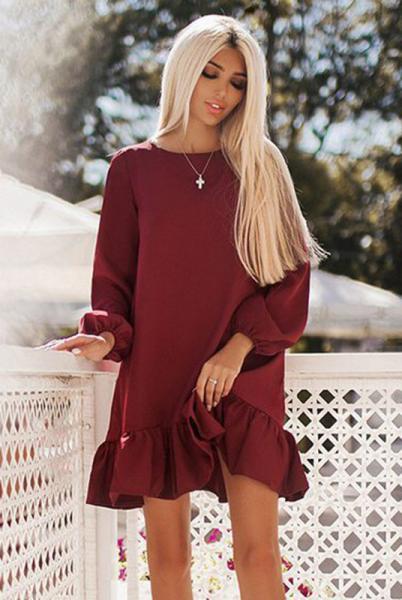 Весеннее женское платье Розалия бордовый