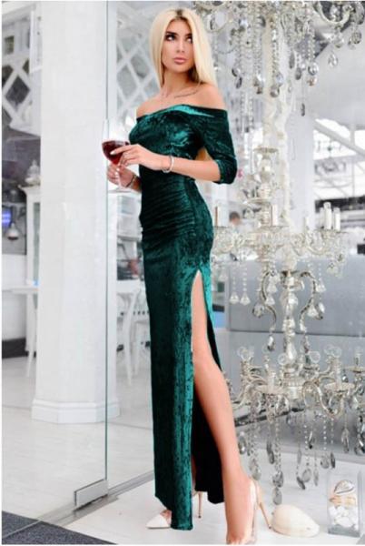 Вечернее платье макси  Кармела, изумруд