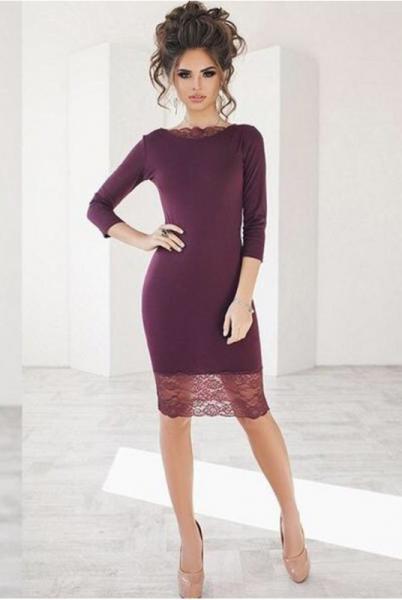 Вечернее платье миди  Ясмина  бордовый