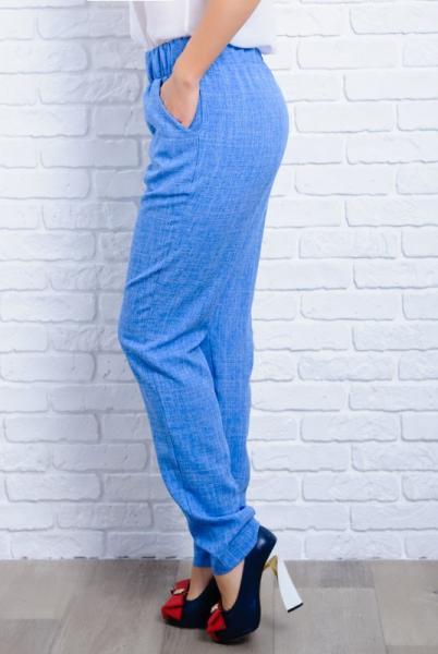 Голубые легкие женские брюки  Крит