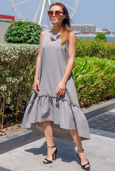 Длинное летнее платье  ГОРТЕНЗИЯ серого цвета