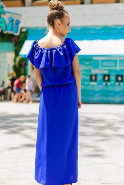 """Длинное летнее платье """"Venera"""" электрик"""