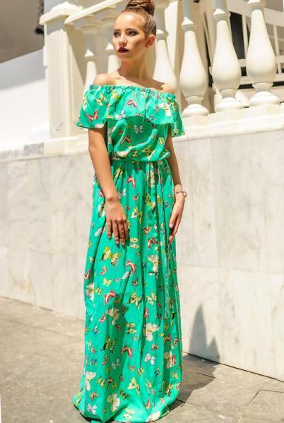 """Длинное платье """"Venera принт"""", зеленый"""