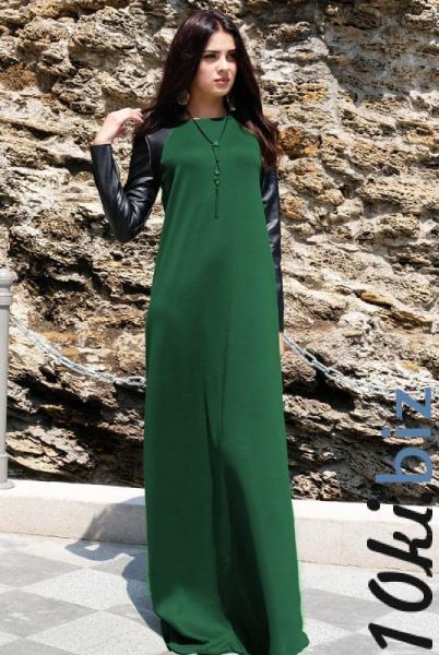 """Длинное платье трикотаж  """"Габриэлла"""", изумруд - Платья больших размеров в магазине Одессы"""