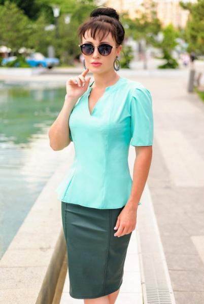 """Женская летняя блузка  """"Victoria Beckham"""" ментол"""