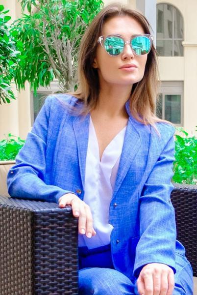 Женский льняной пиджак Миканос голубой