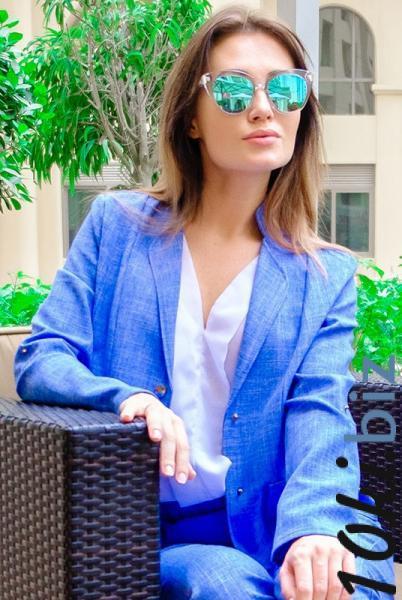 Женский льняной пиджак Миканос голубой - Женские жакеты, пиджаки, кардиганы в магазине Одессы