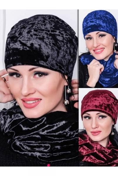 Комплект шапка и шарф-хомут Велюр