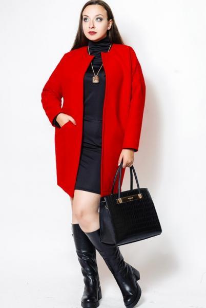 """Короткое пальто """"Маргарита"""", красный"""