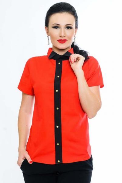 """Красная летняя блузка """"Oxford"""" из натуральной ткани"""