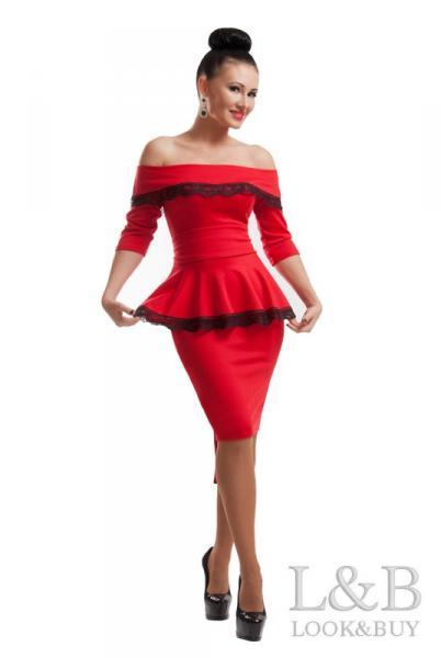 """Красное вечернее платье """"Френч"""""""