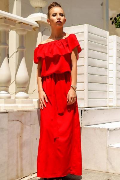"""Красное летнее платье """"Venera"""" в пол"""