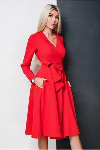 Красное платье-халат АВРОРА