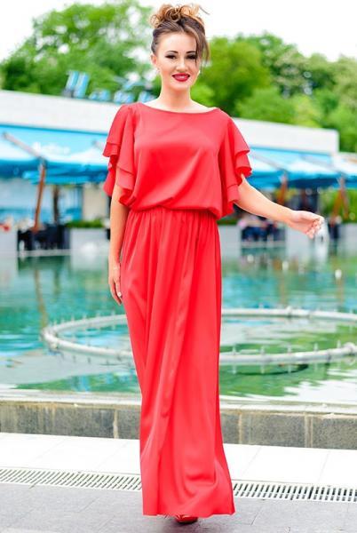 Красное шелковое платье Шерлиз