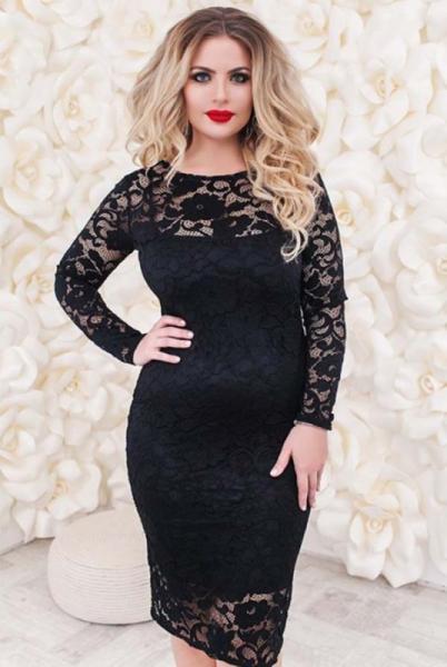 """Кружевное черное платье """"Белиссимо """"батал"""