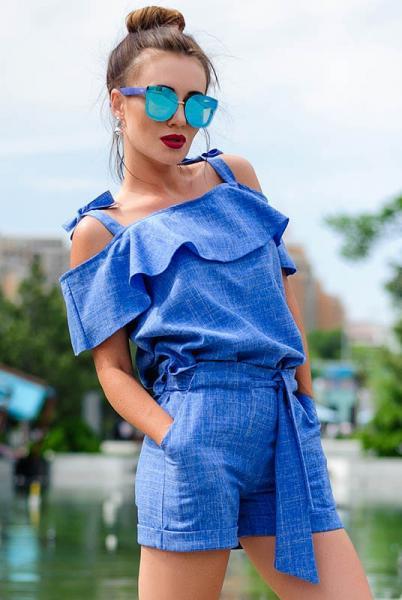 Летний женский костюм с шортами Симона голубой