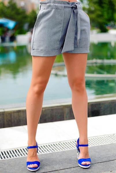 Льняные летние шорты Гаванна  серые
